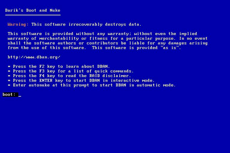 Screenshot of the DBAN hard drive wiping program