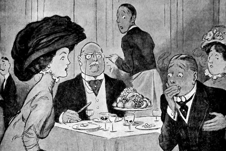 Black and white illustration, depicting a restaurant scene with a man clutching his chest and mouth following an etiquette faux pas