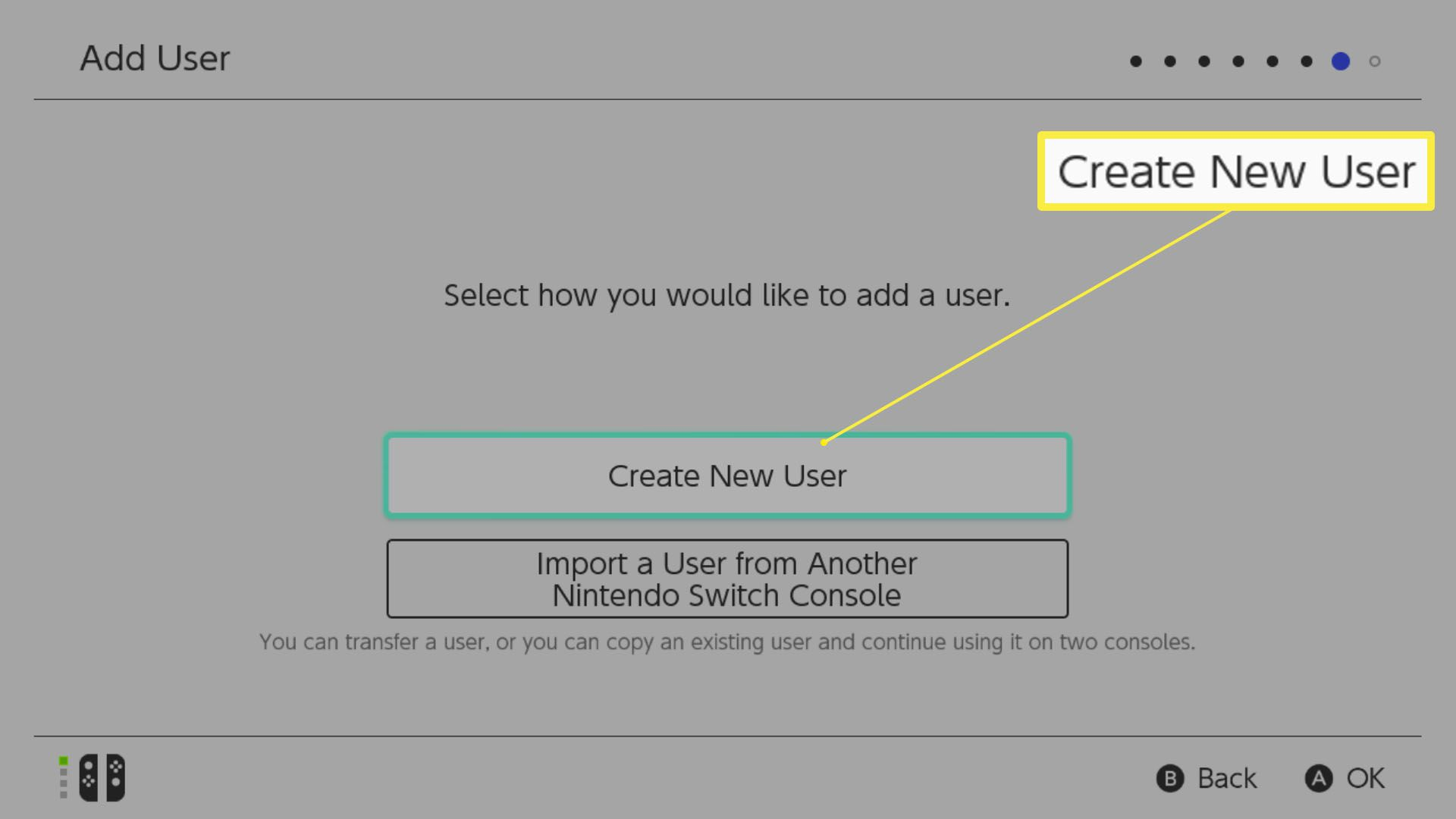 Nintendo Switch setup with Create New User highlighted