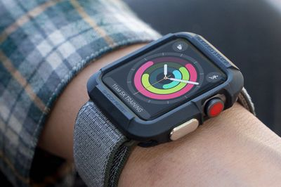 Apple Watch with case on wrist