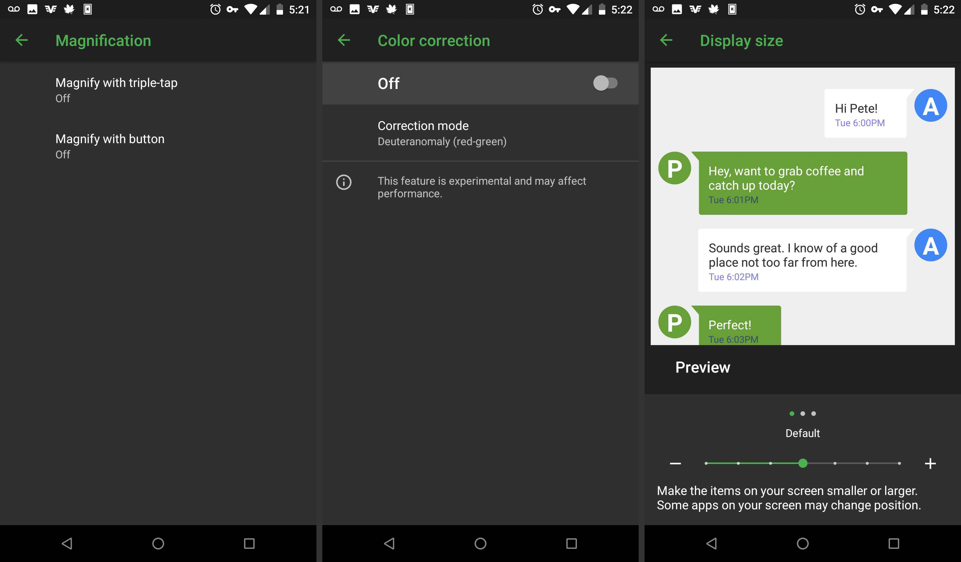 Android accessibility more visual options