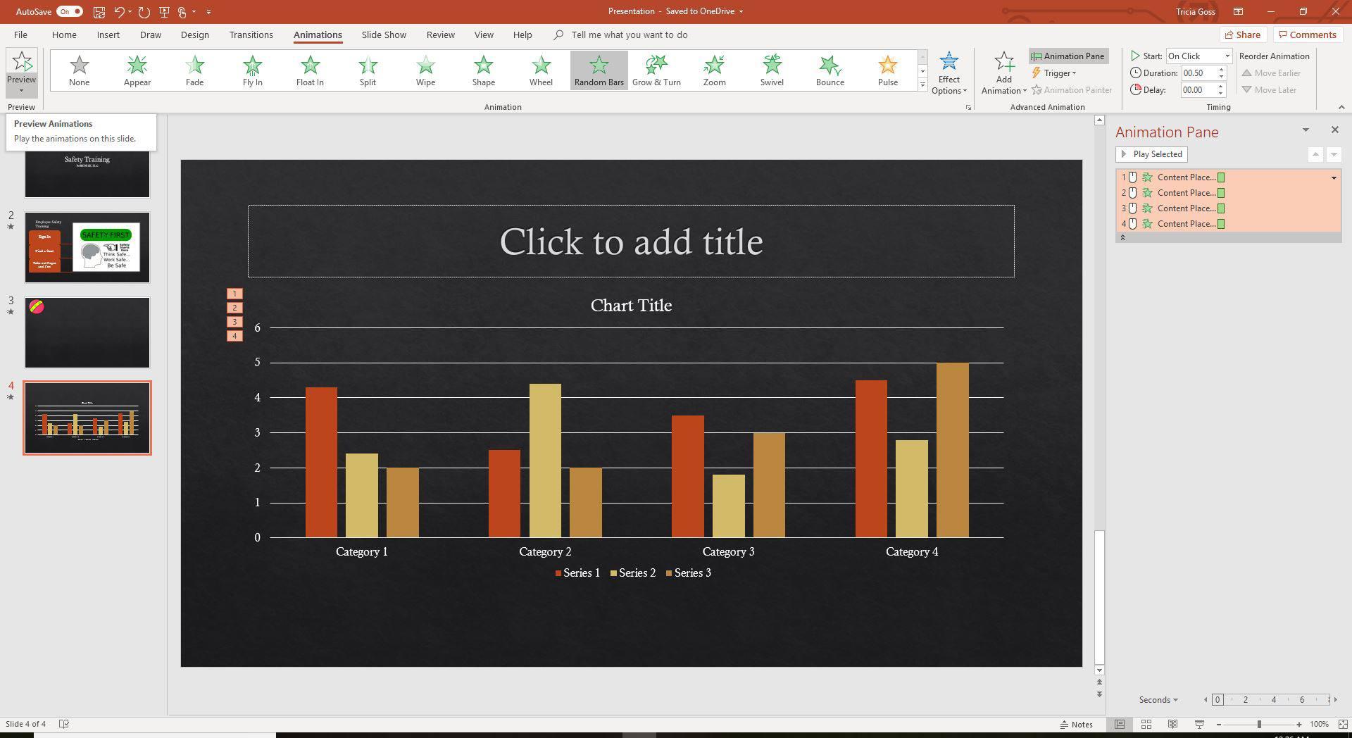 A screenshot of the Preview animations feature in PowerPoint.