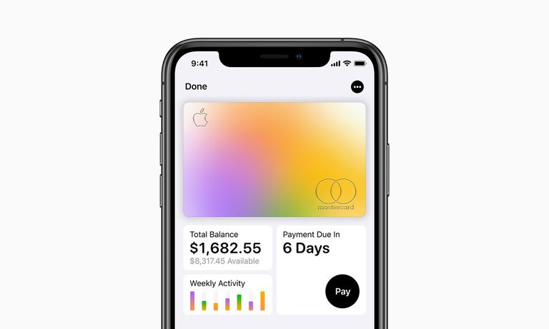 The Apple Card and reporting options, shown in the iOS Wallet app