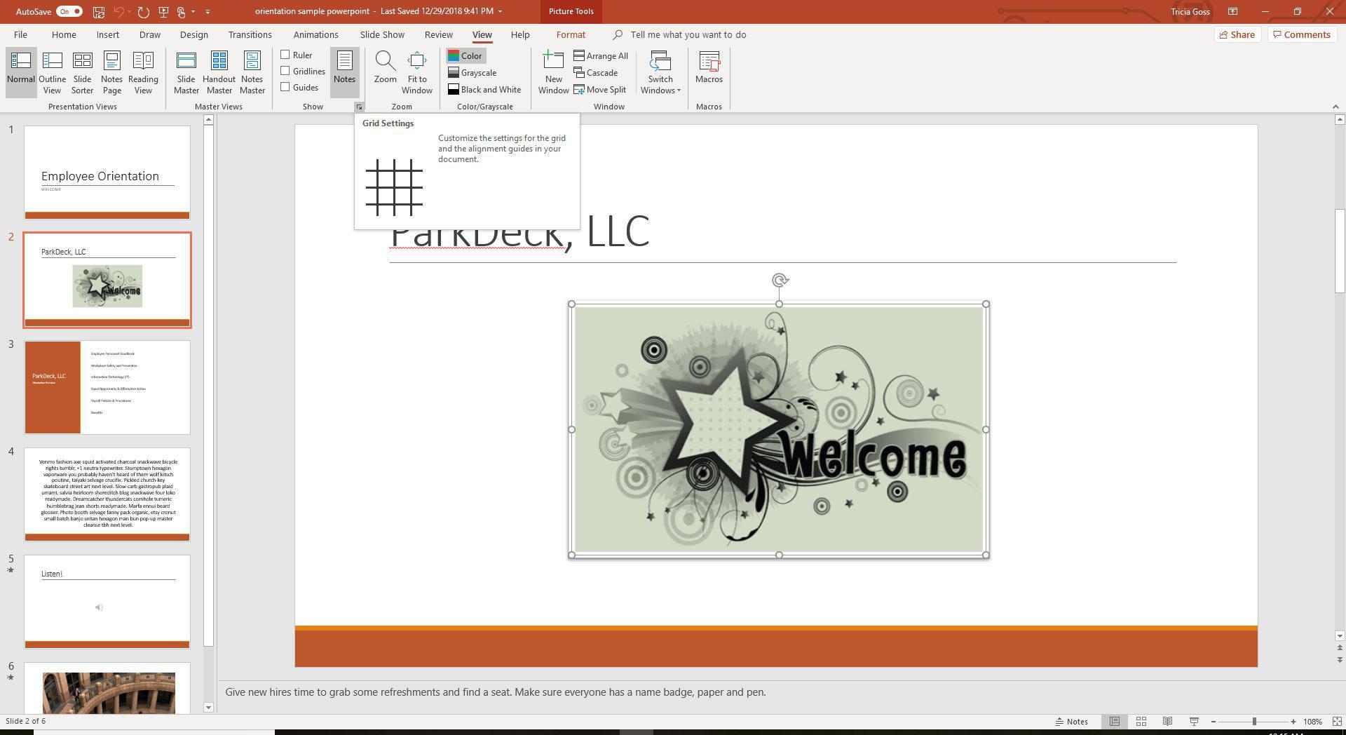 Grid Settings dialog launcher