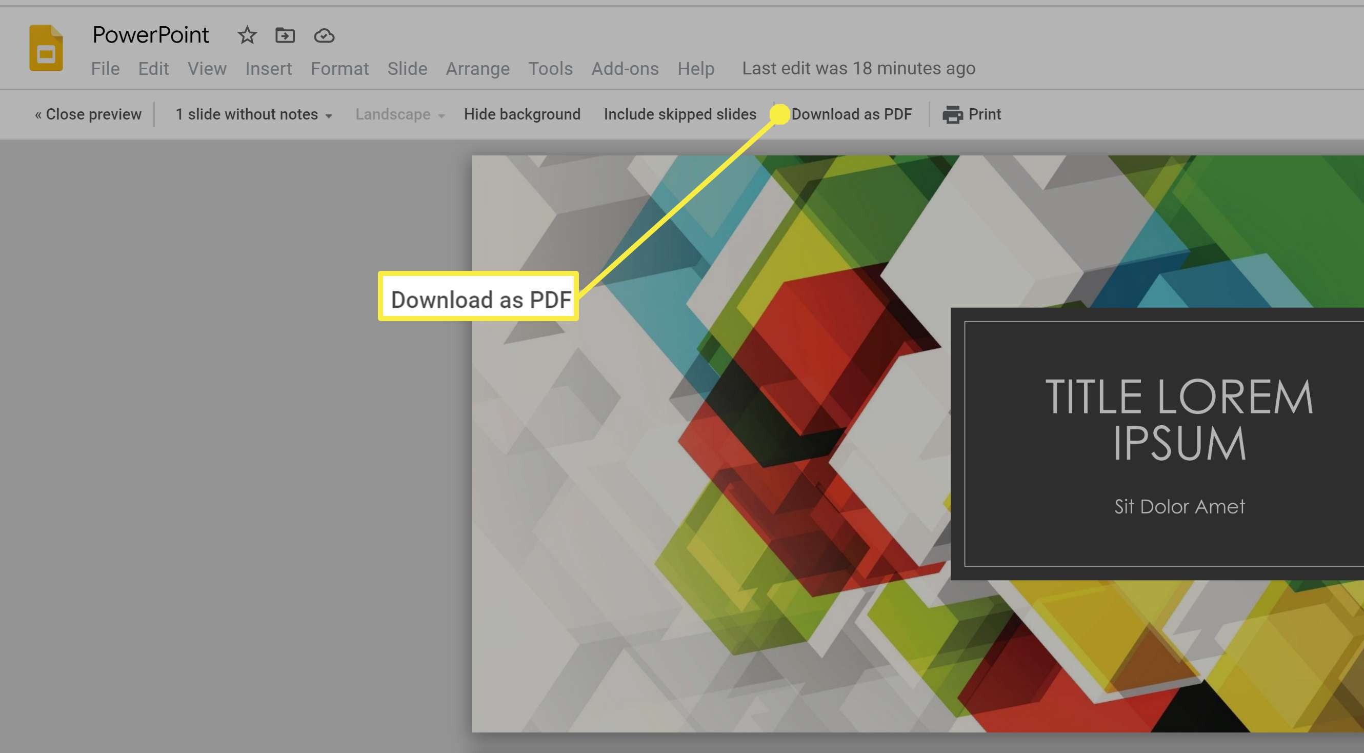 Downloading Google Slides with speaker notes as a PDF.
