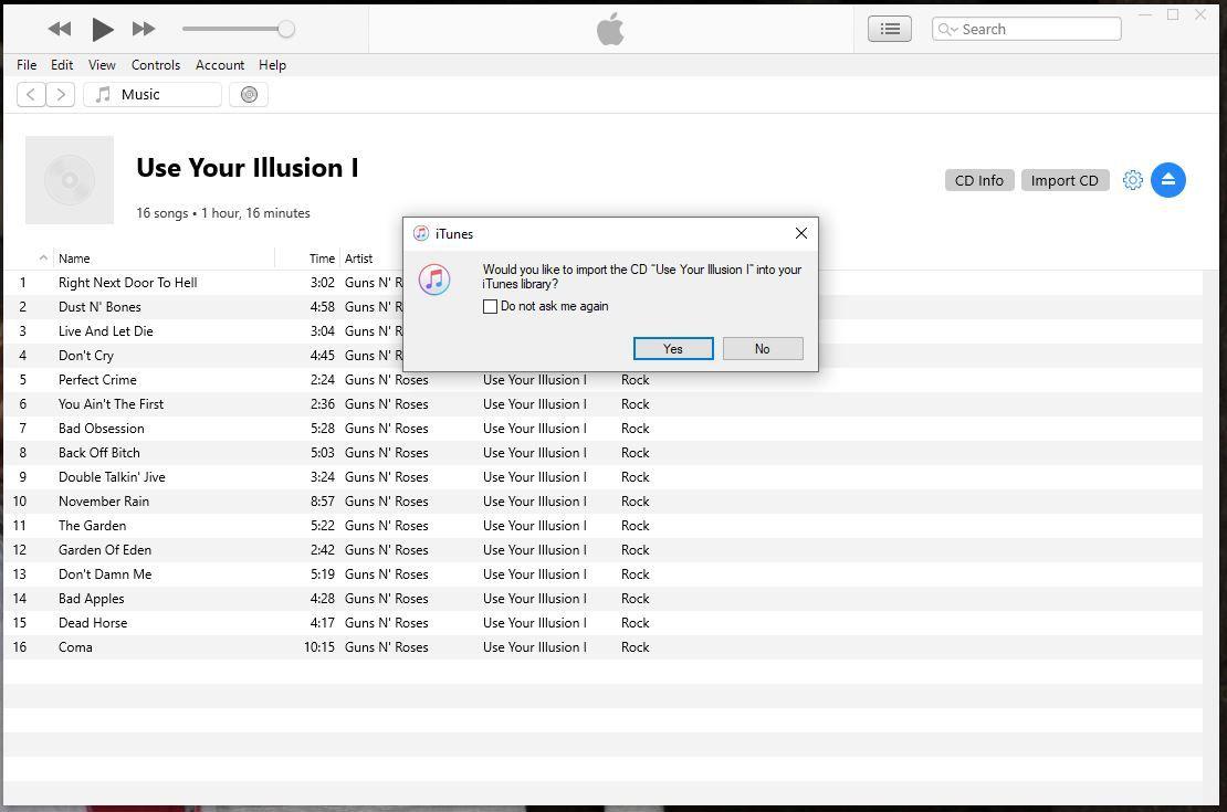 CD in iTunes.