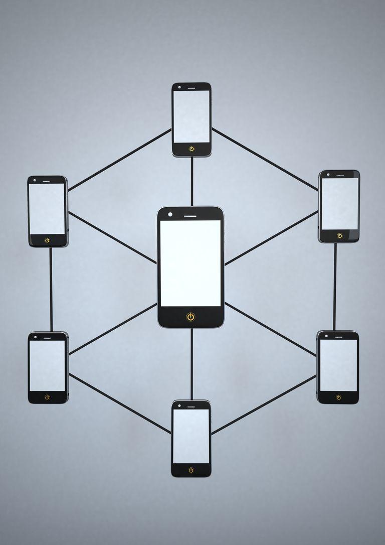 Smartphone Network against grey background