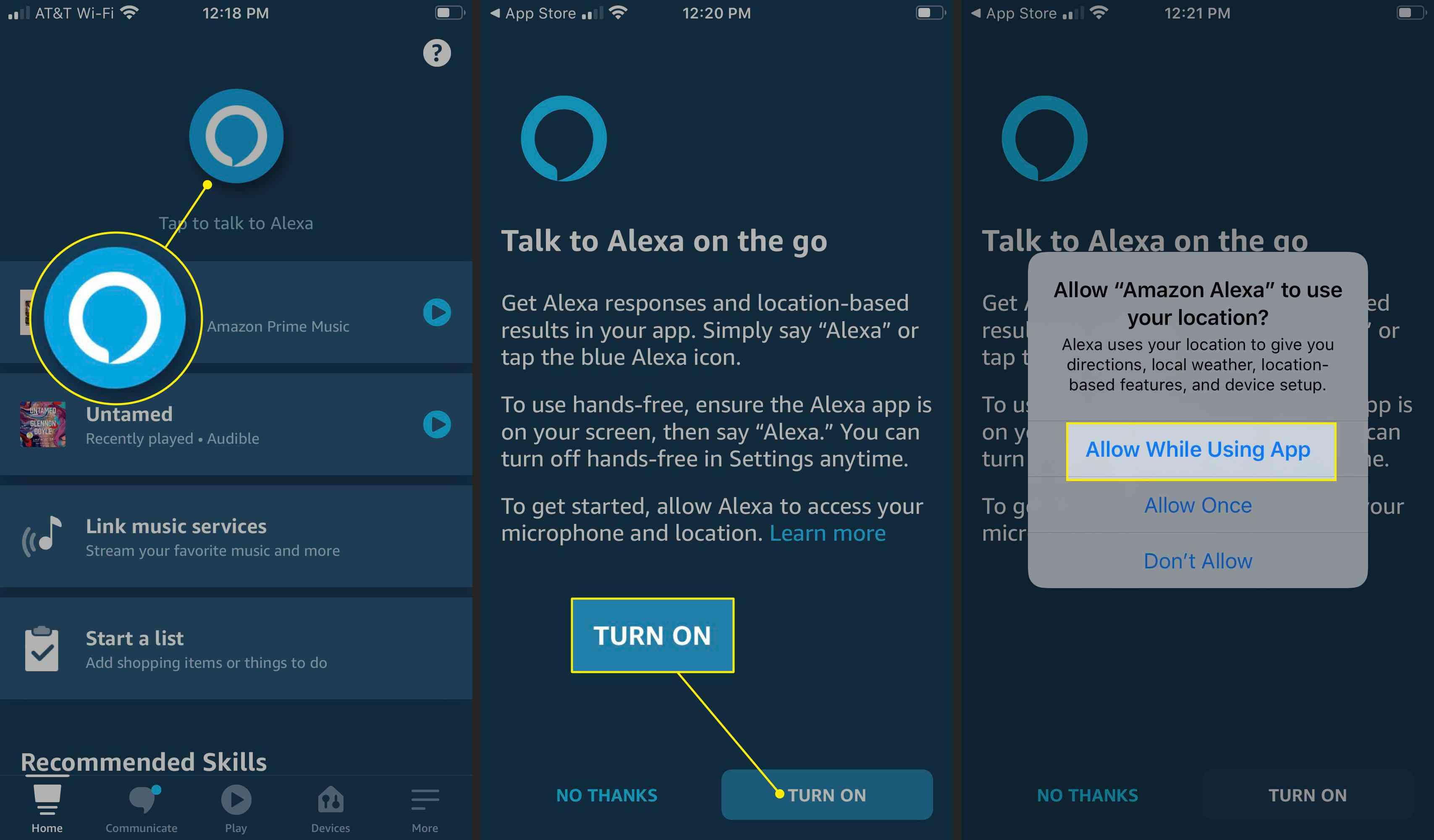 Turn on Alexa in the app