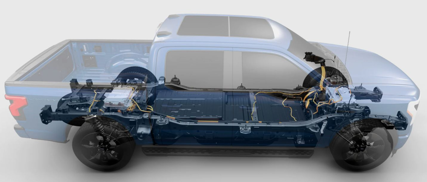 Rendering of the 2022 Ford F150 EV wiht the platform exposed and seating removed.