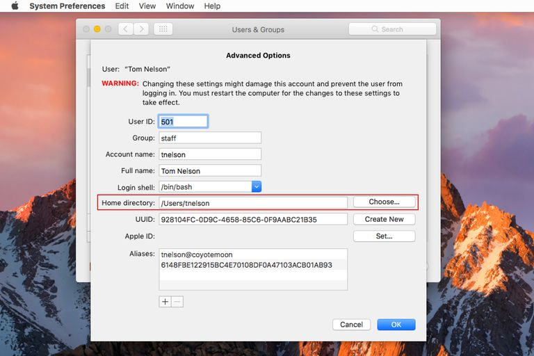 Advance options for Mac OS user account