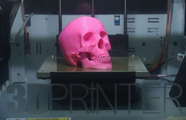 A skull being made in 3D printer.