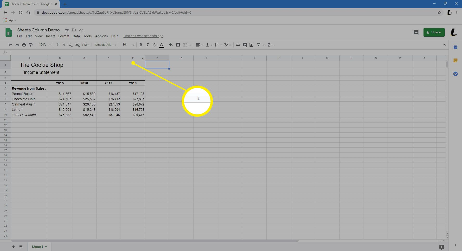 Hovering mouse over column E in Sheets.