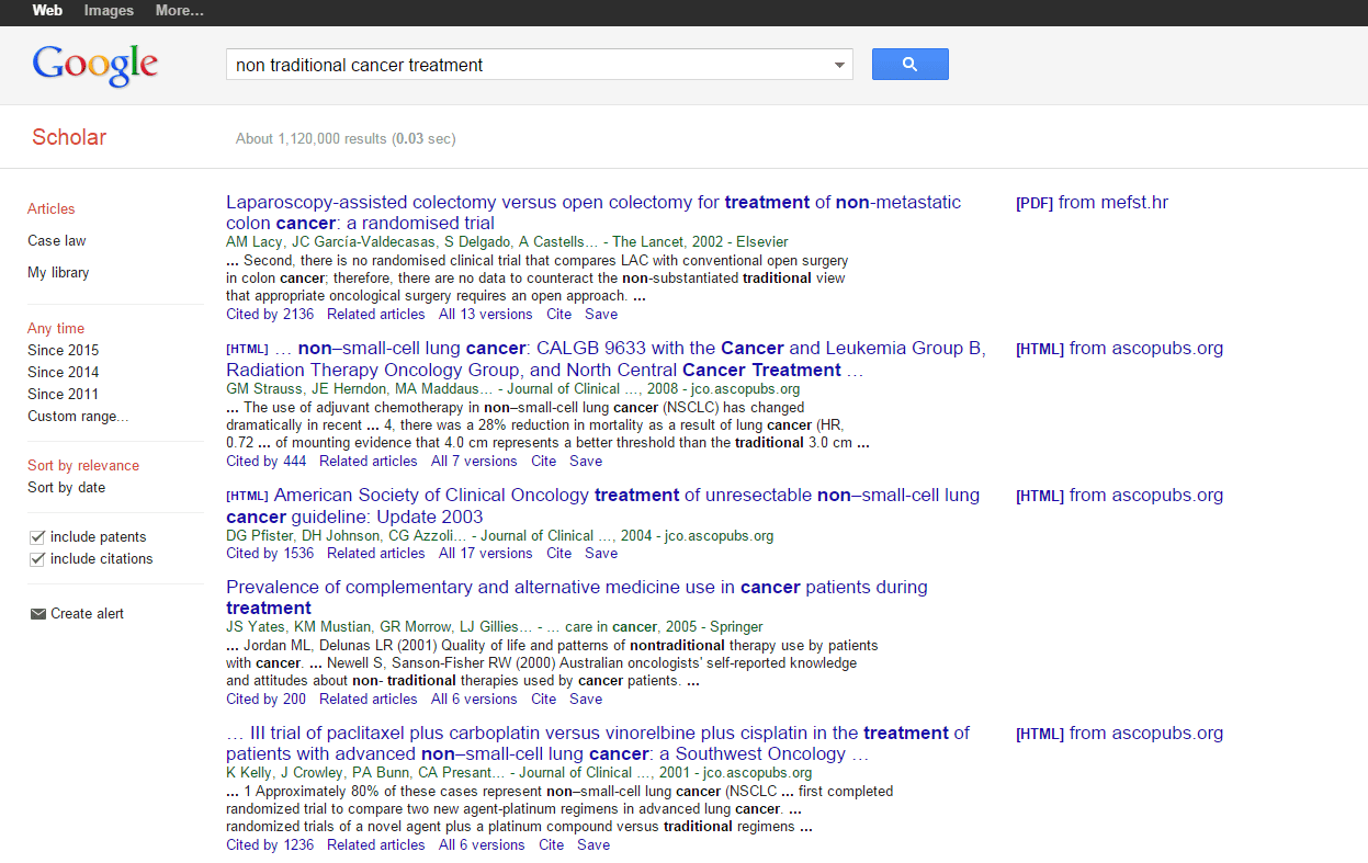Google Scholar screen