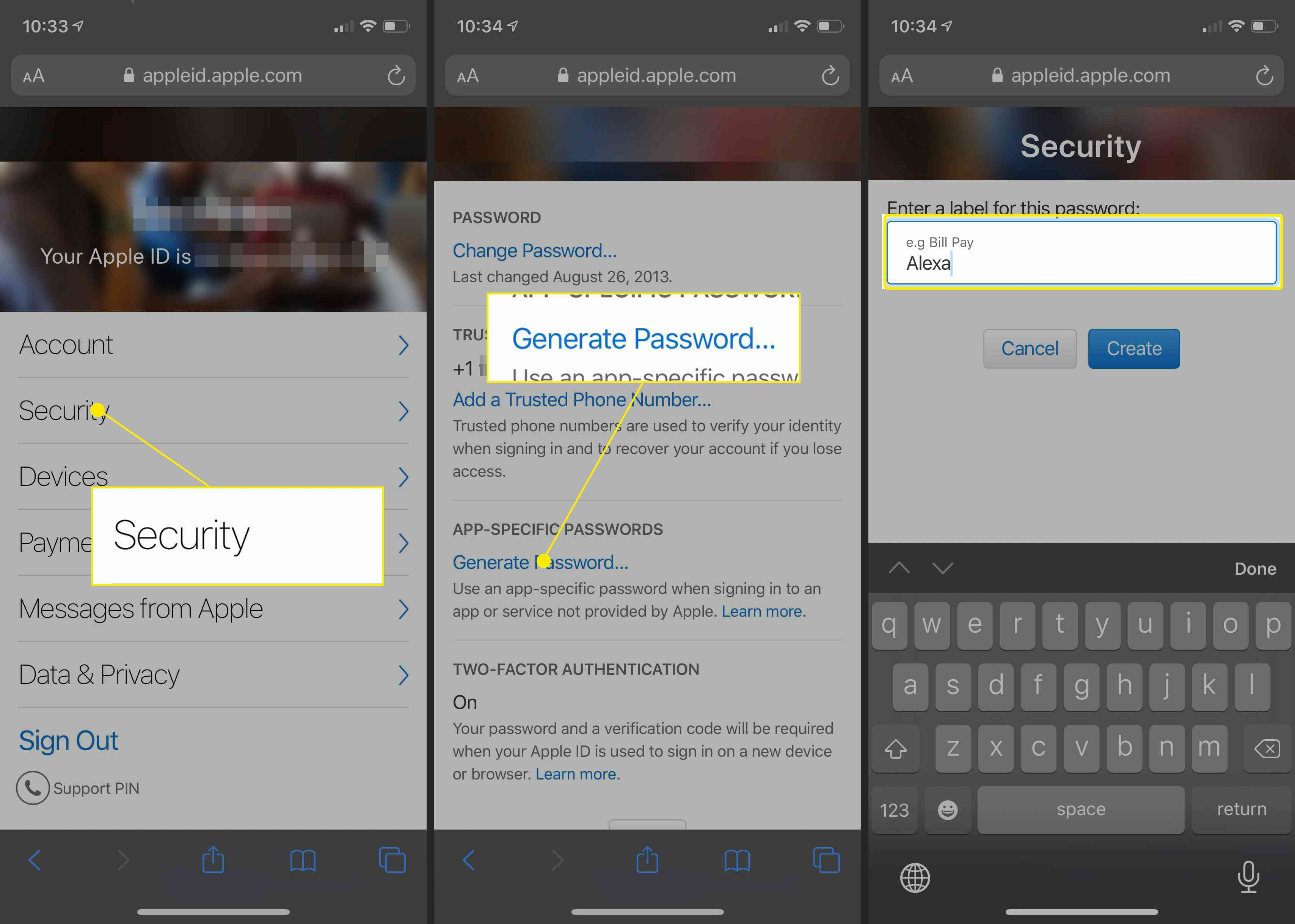 Finalizing two factor authentication on iPhone.