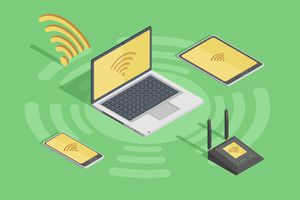 Illustration of Wi-Fi on multiple devices like a laptop, tablet, phone, and modem