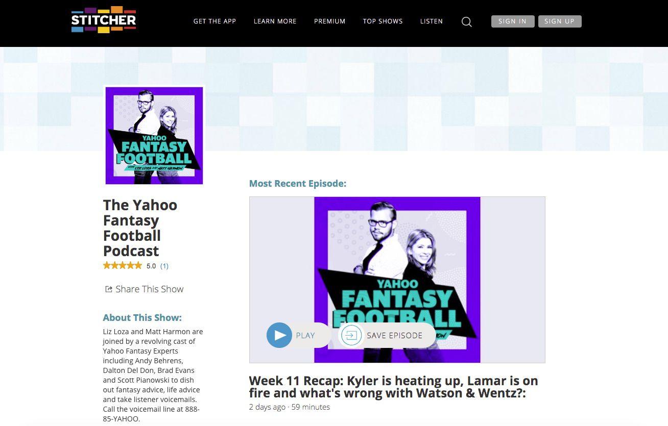 Screenshot of Yahoo Fantasy Football Podcast