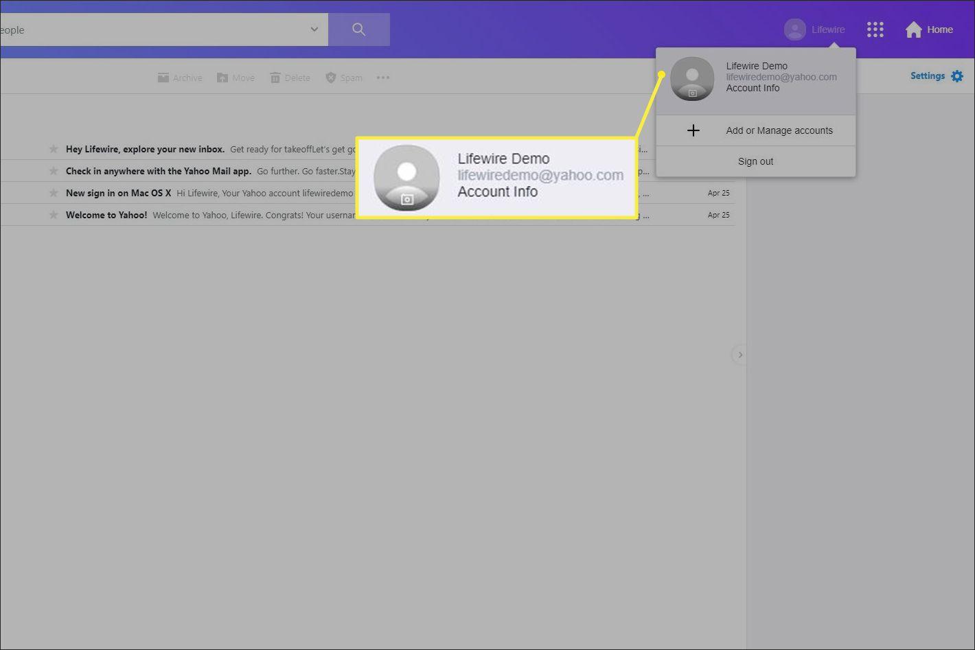 Yahoo Account Info in menu
