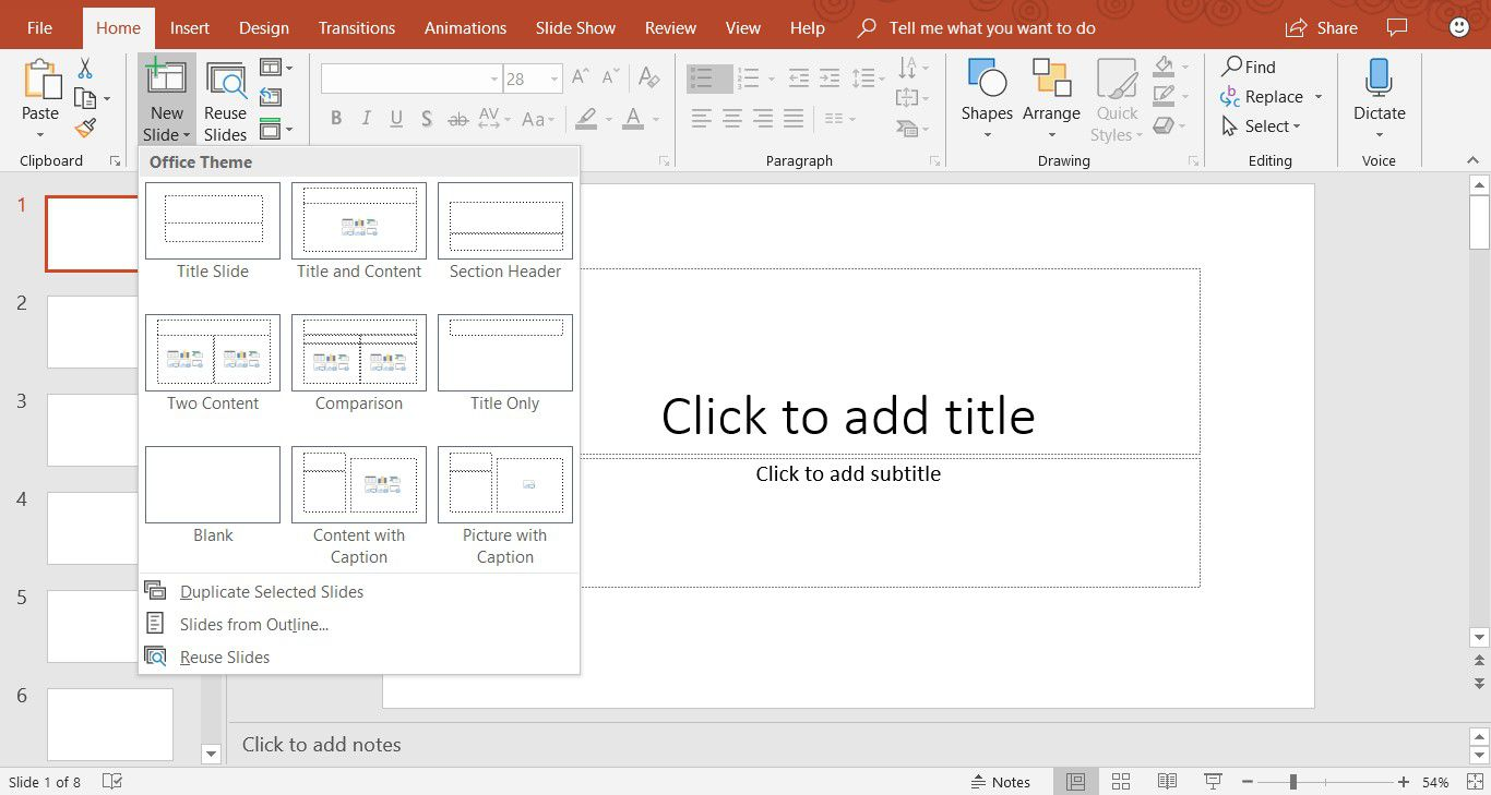A screenshot showing how to add a new slide in PowerPoint