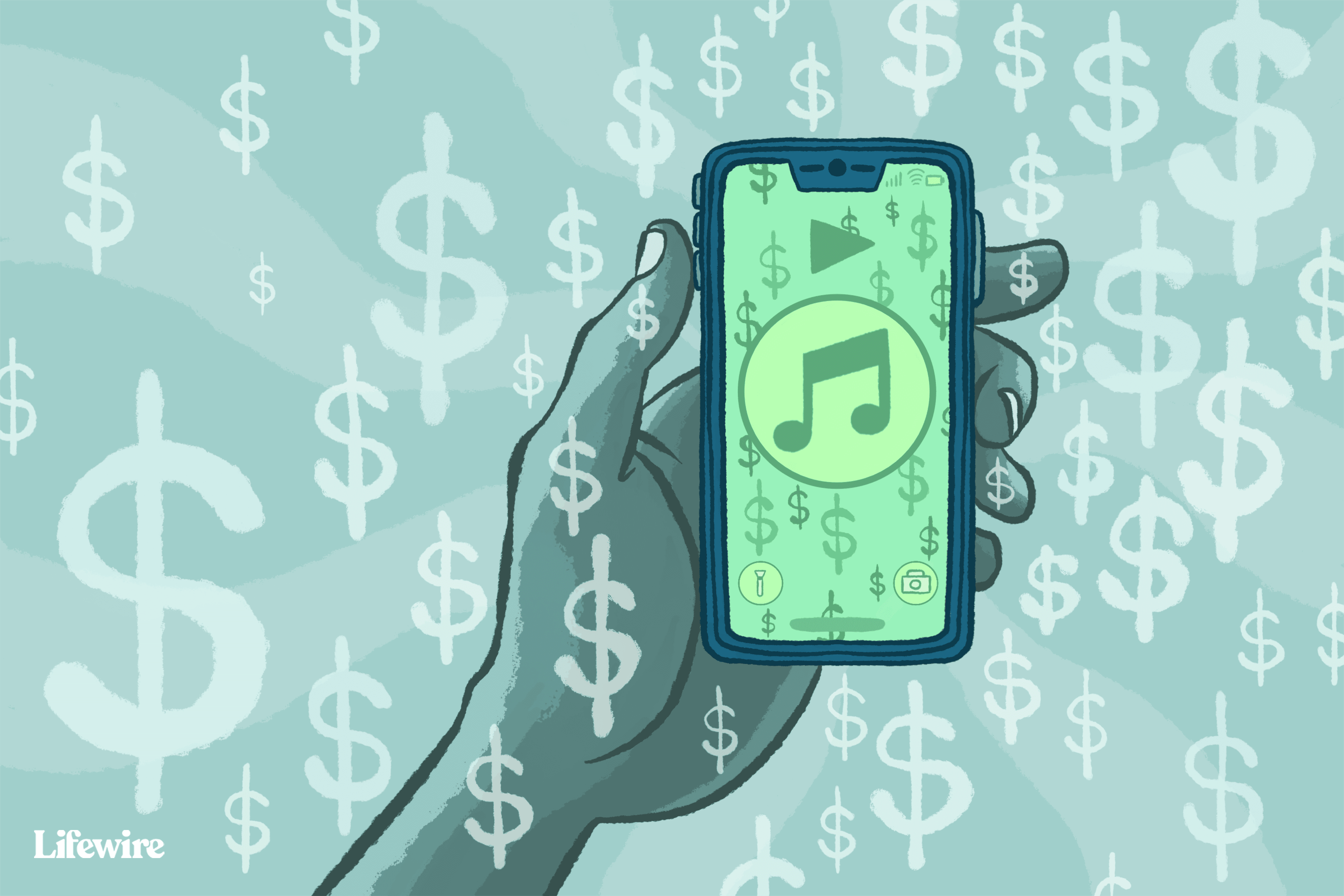 A person holding an iPhone with the iTunes logo on it, dollar signs emanating from it