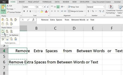 Screenshot of Excel with cursor over Values