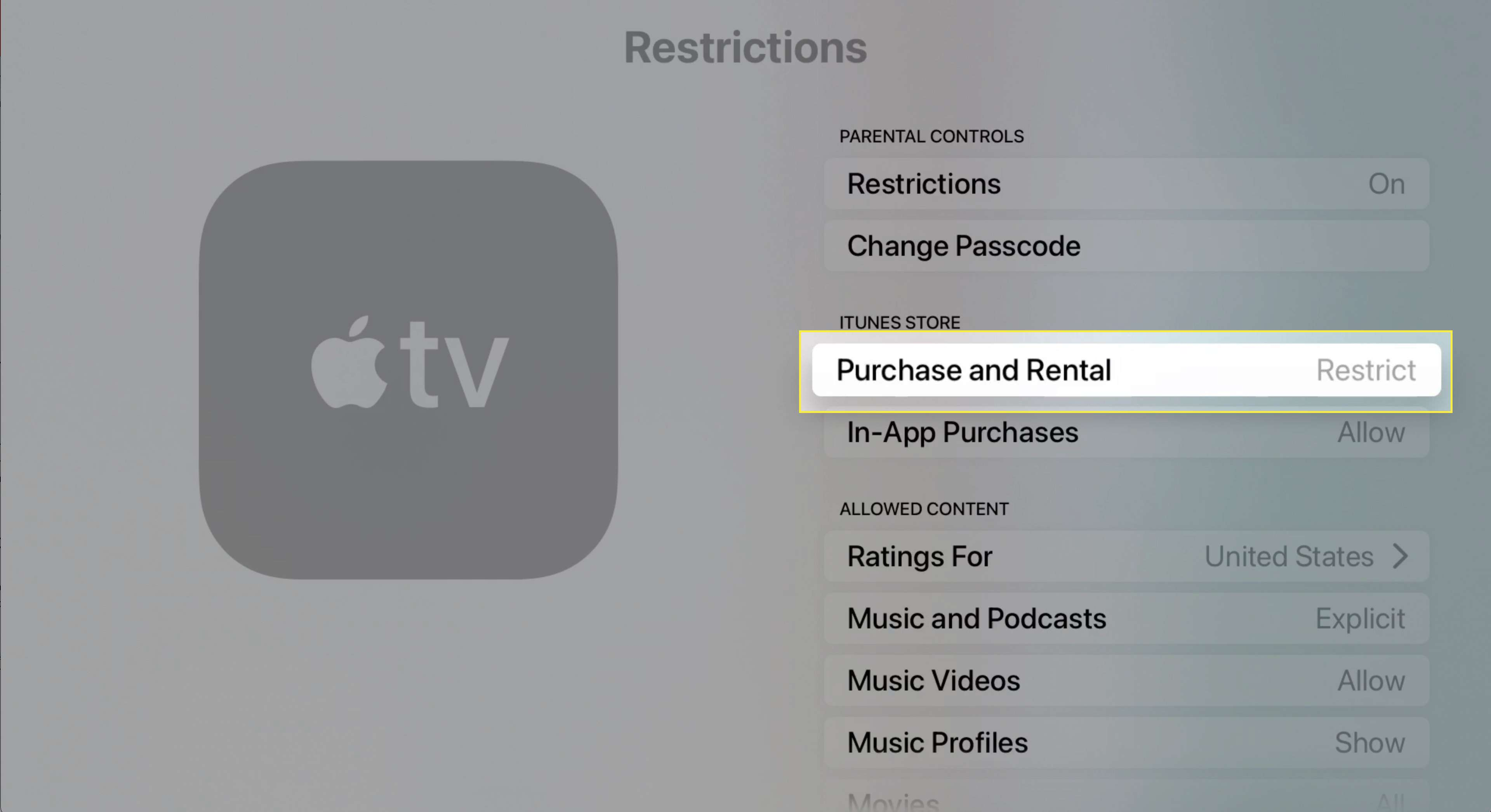 Apple TV restrictions settings with Purchase and Rental Restrict highlighted