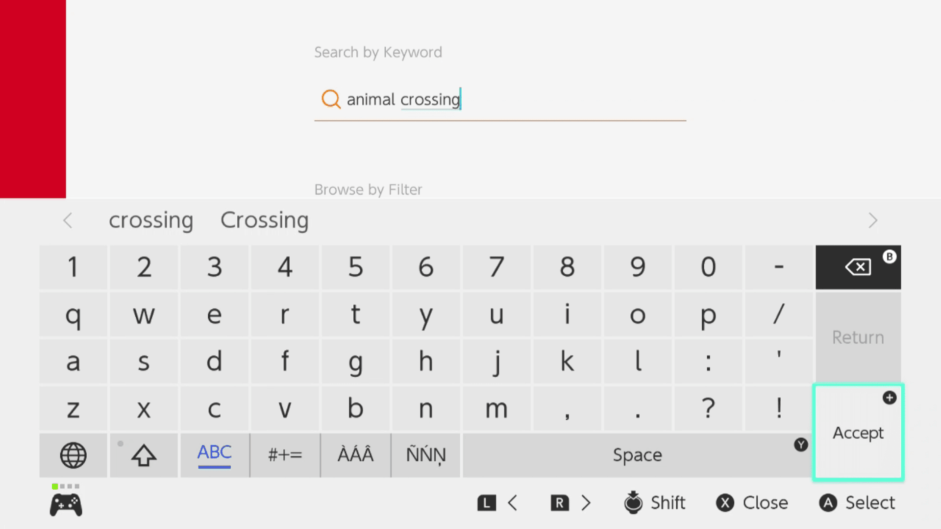 Searching for Animal Crossing in the Nintendo eShop.