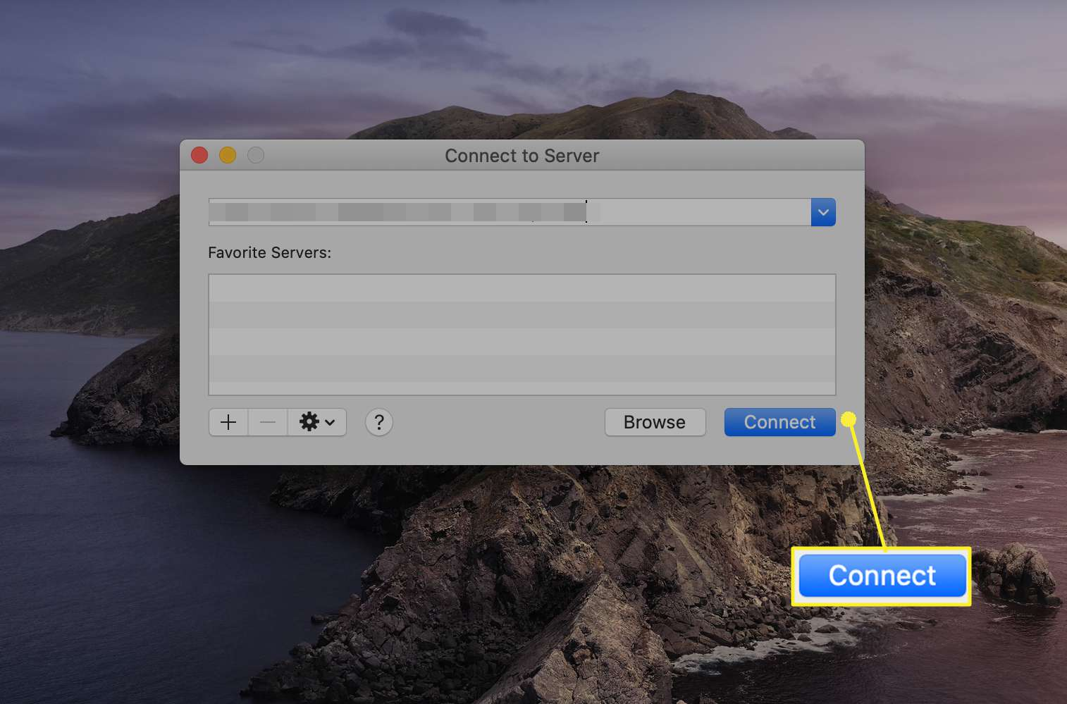 Connect to Server window dialog box on Macs