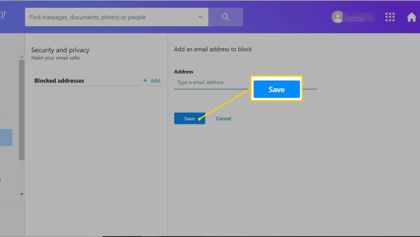 Save button in blocked email web page for Yahoo Mail