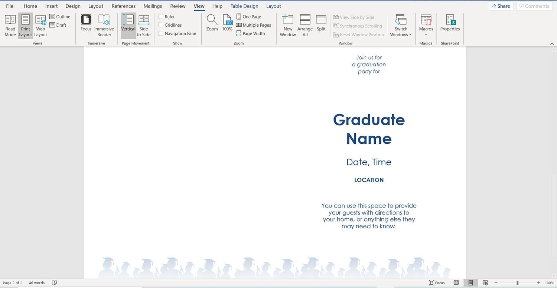 Simple half-fold graduation party invitation template for Microsoft Word