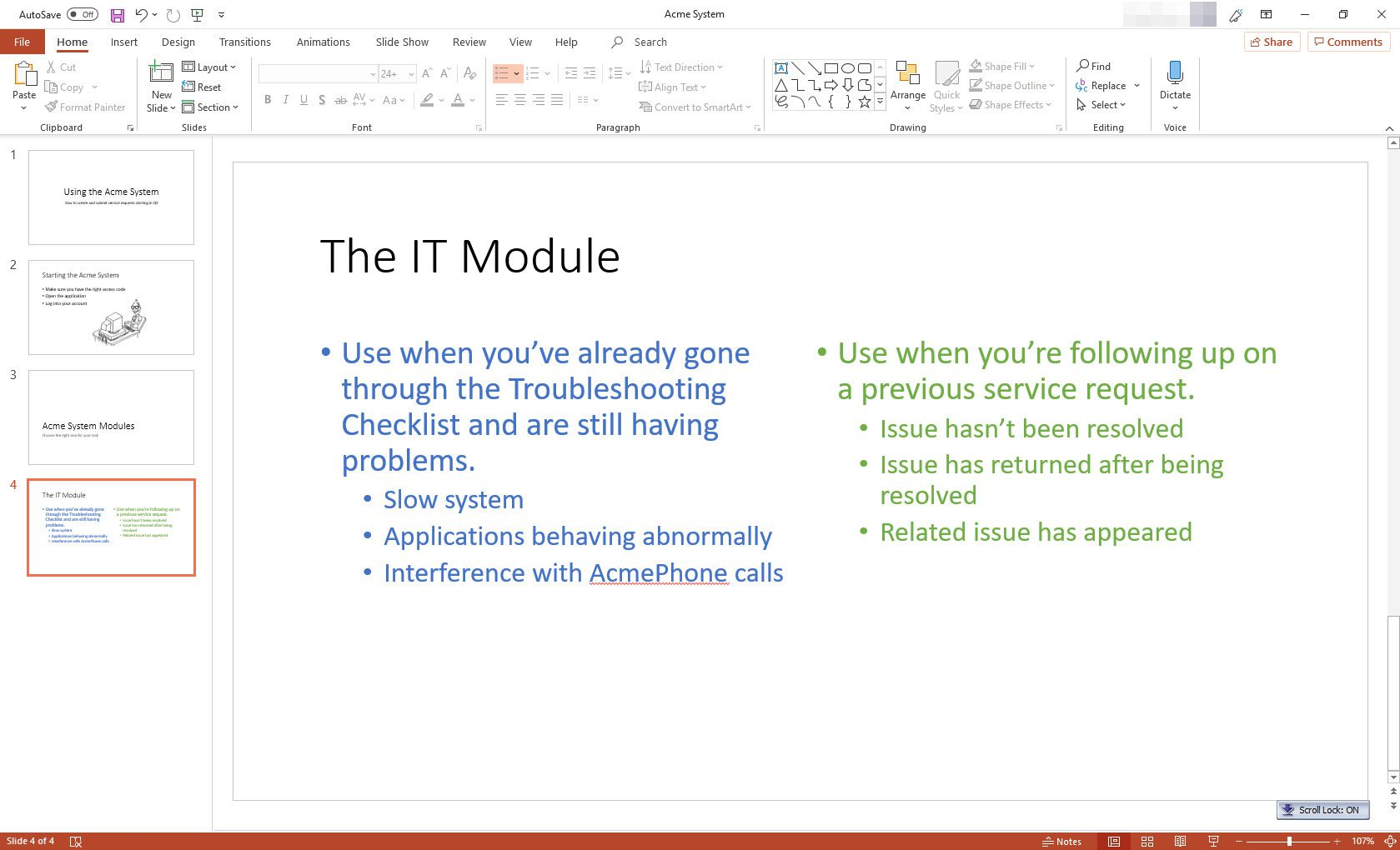 MS PowerPoint with Two Content slide layout displayed