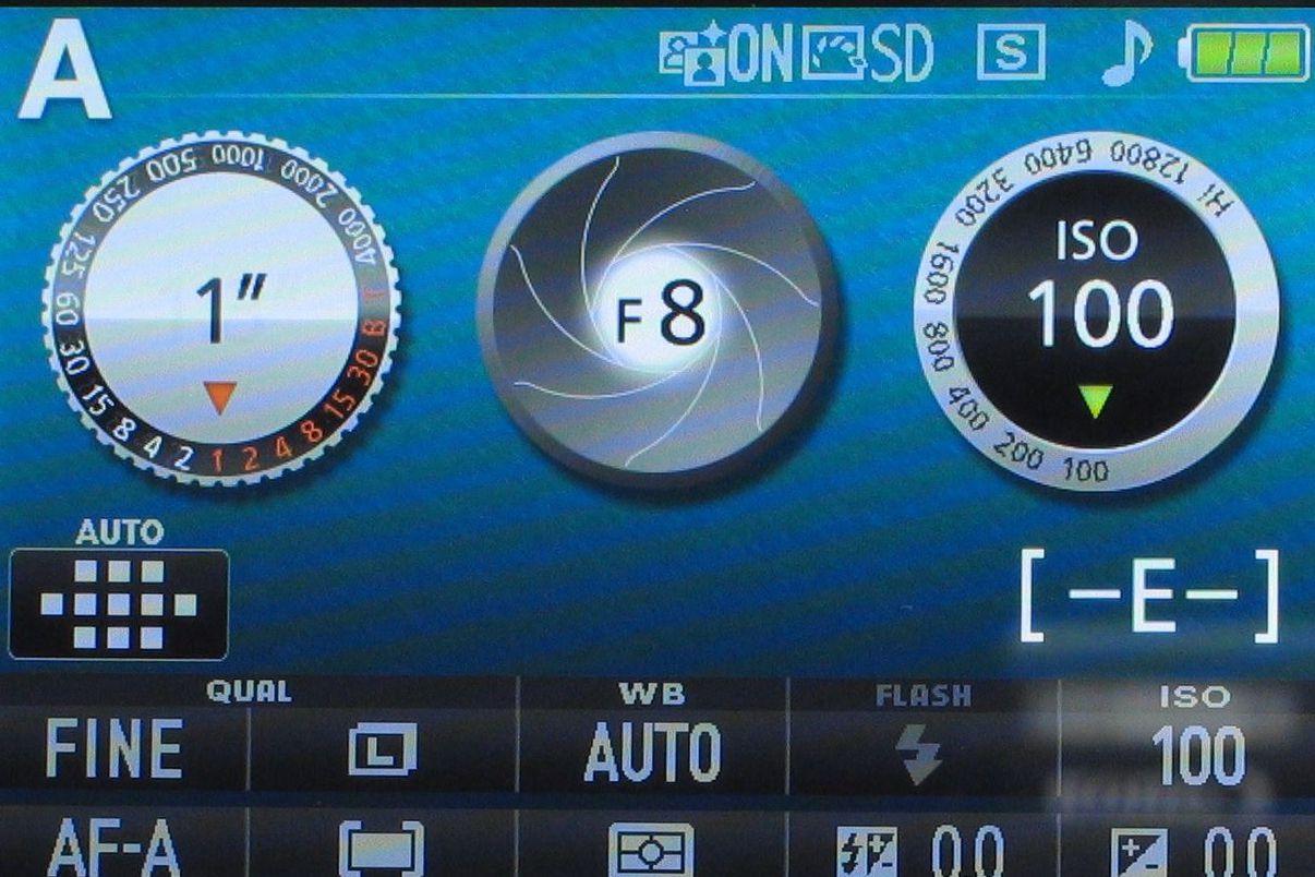 Camera LCD detailing shot specs
