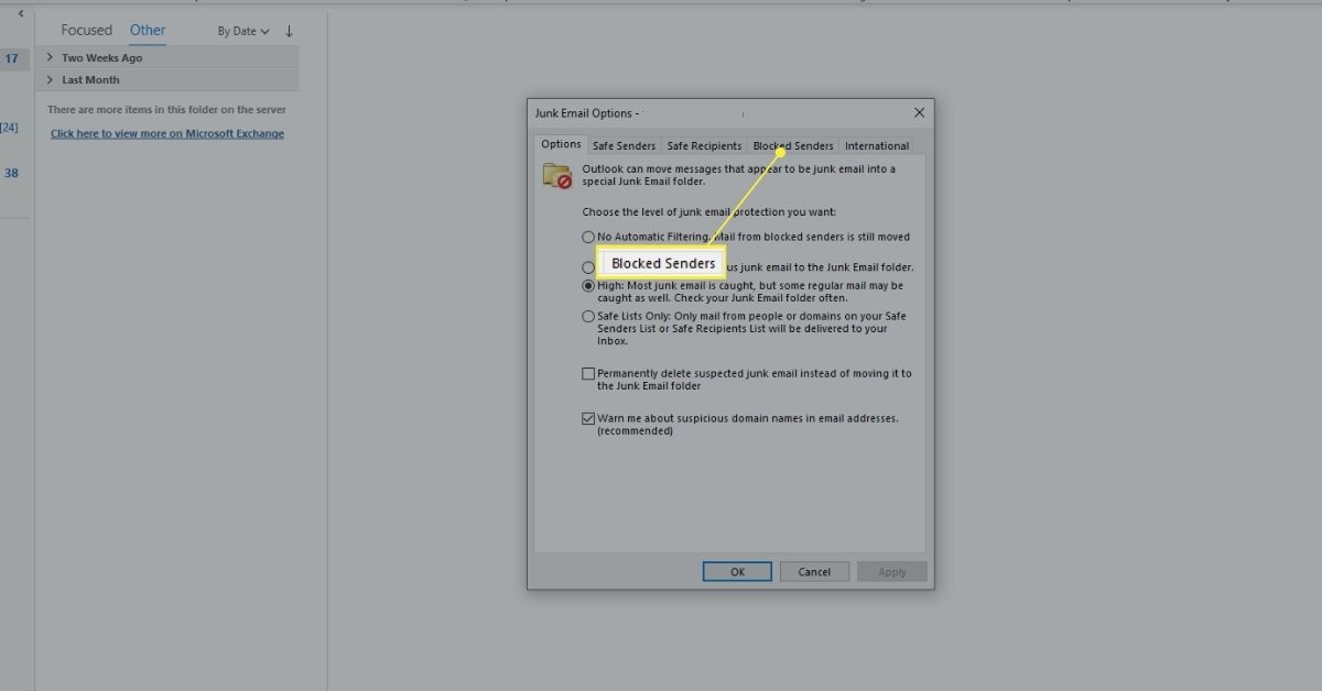 Blocked Senders tab of Outlook Junk Mail Options dialog