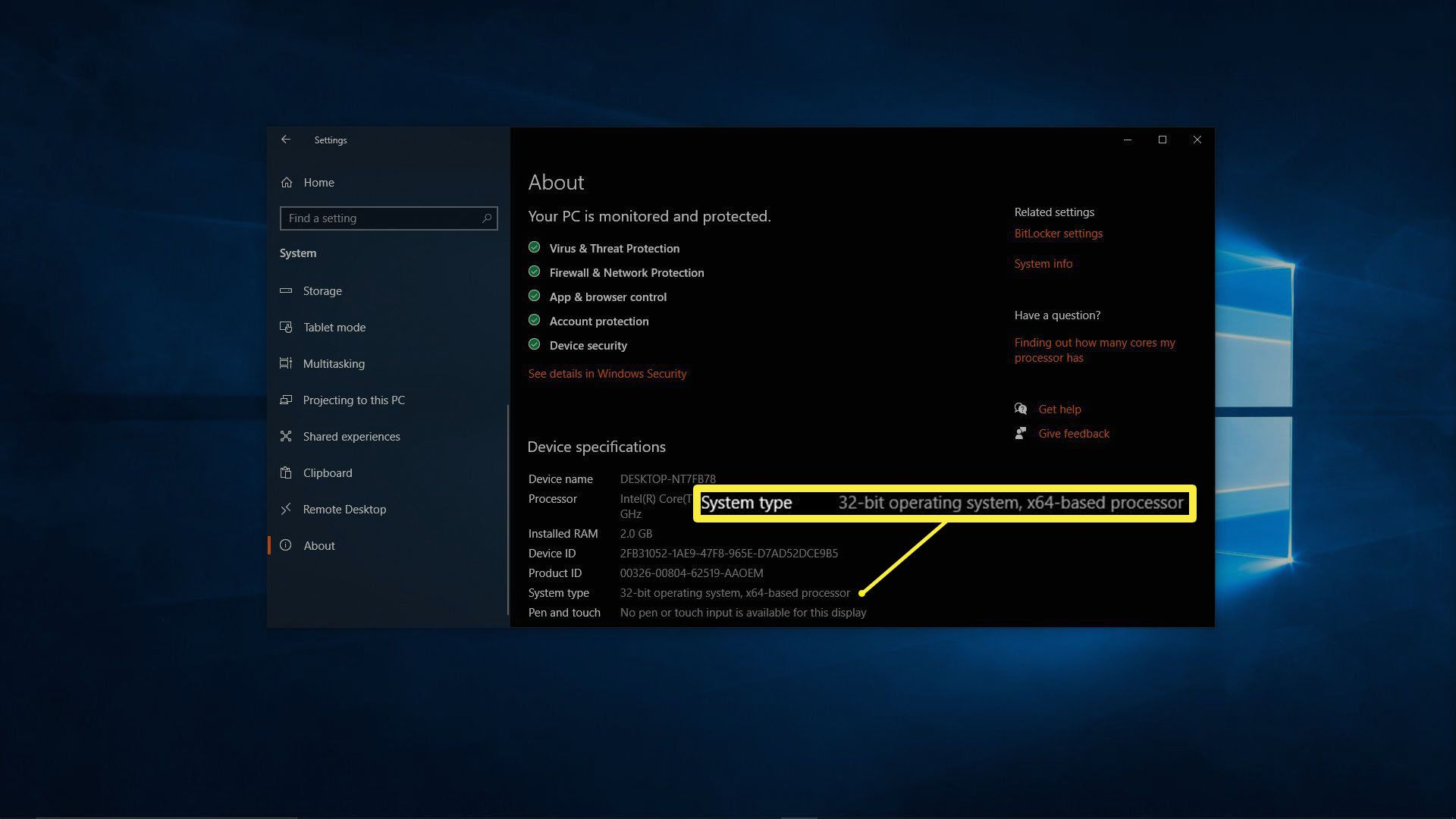 A screenshot of the About screen on Windows 10.