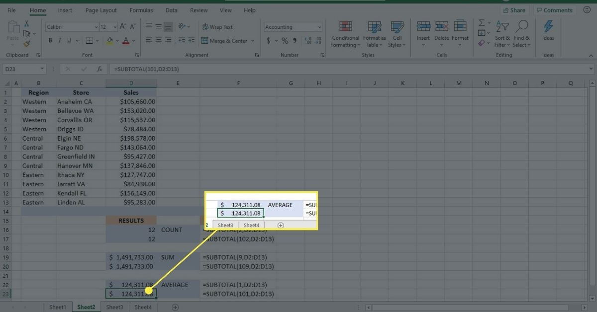 Use the SUBTOTAL function on filtered data