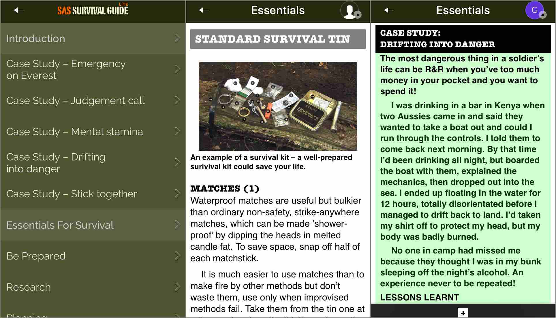 Screenshots of the SAS Survival Guide iPhone app