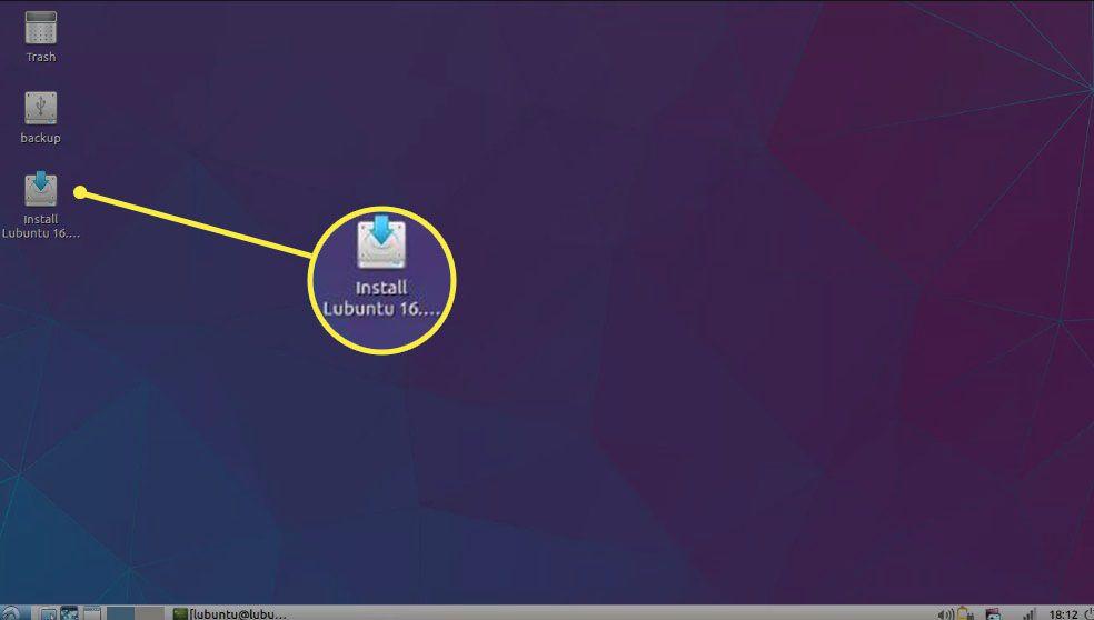 Select Install Lubuntu on the Lubuntu desktop.