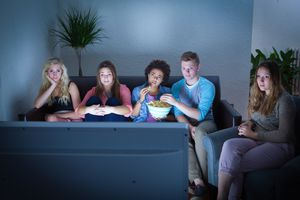 Group watching movie