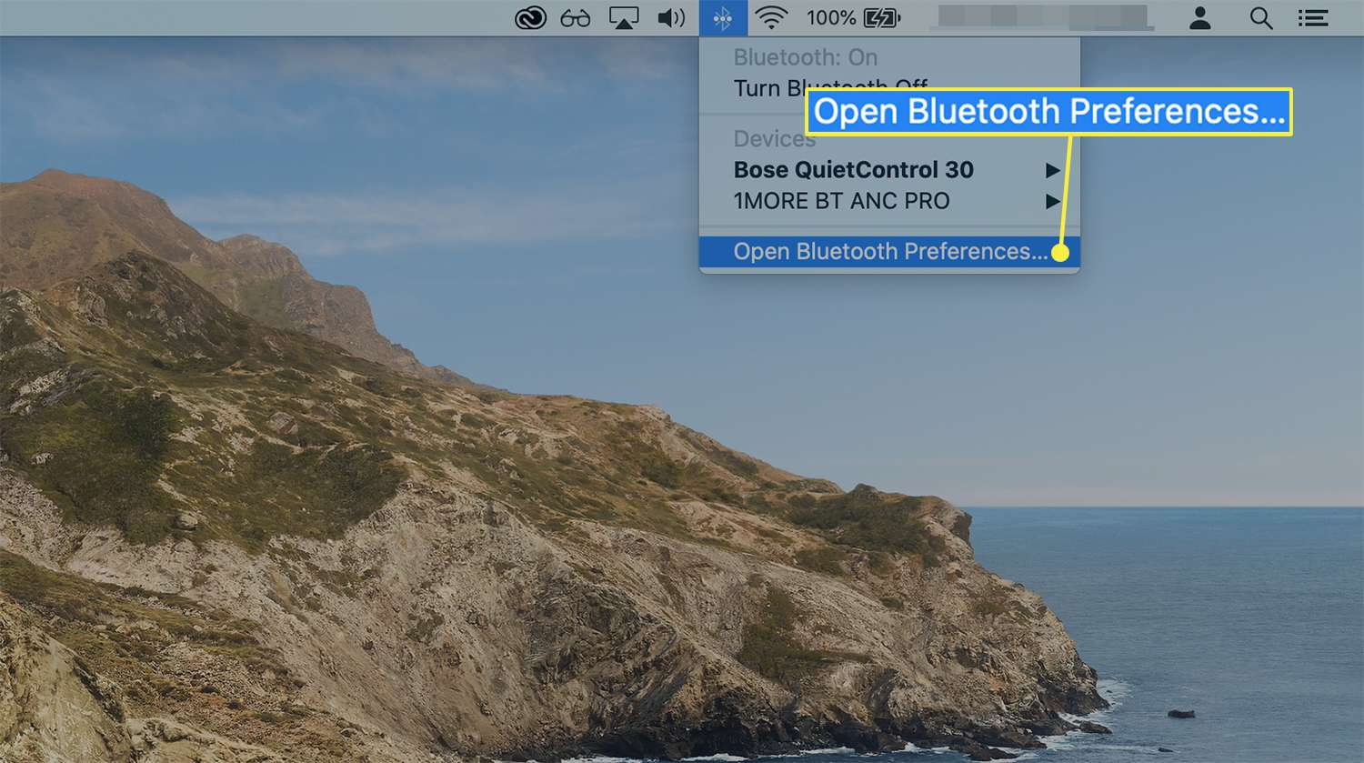 Open Bluetooth Preferences option from the Bluetooth menu icon