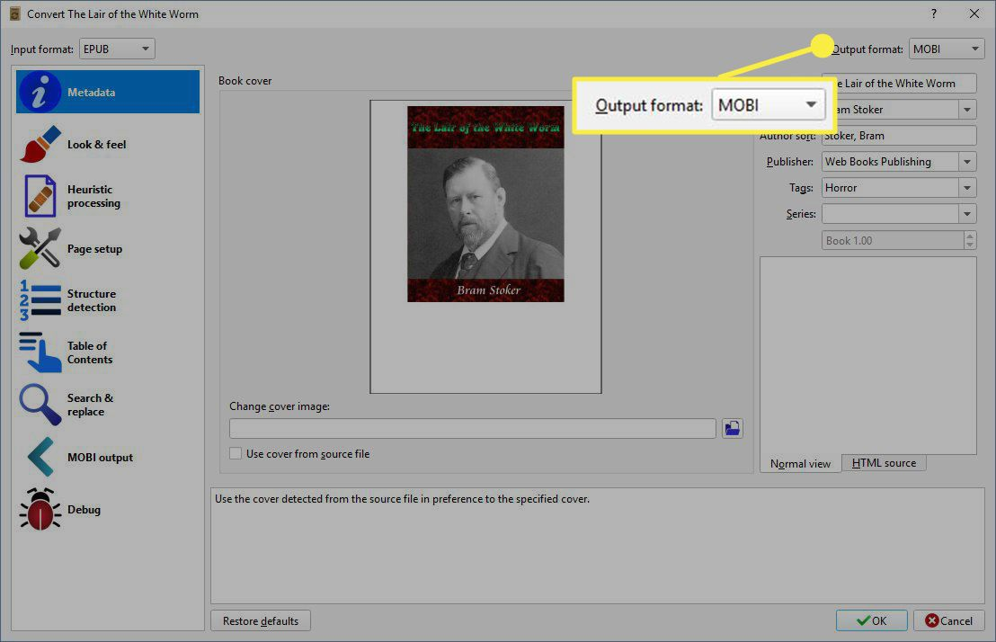 Select the Output format dropdown and select MOBI.