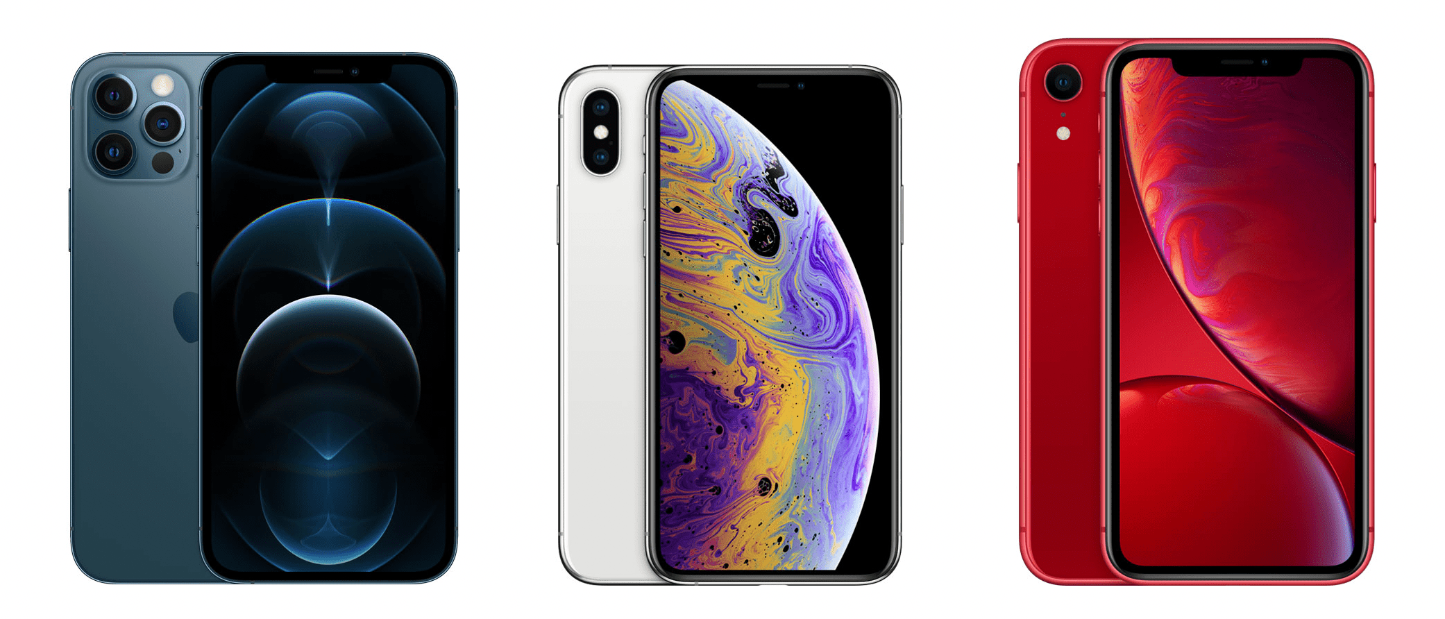 iPhone 12, iPhone XS, and iPhone XR side-by-side