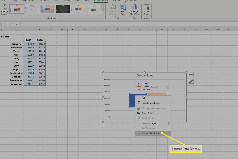 Format Data Series in right-click menu
