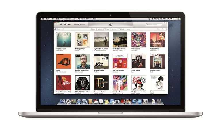 iTunes opened on a Mac laptop