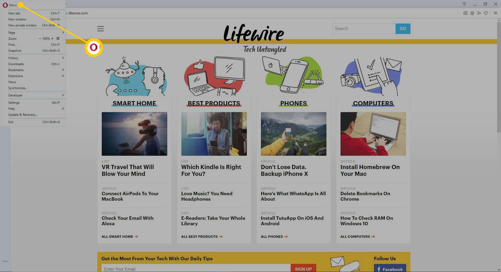 The Opera menu in the Opera browser