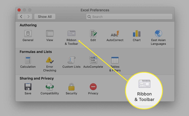 Excel Ribbon & Toolbar Preferences icon