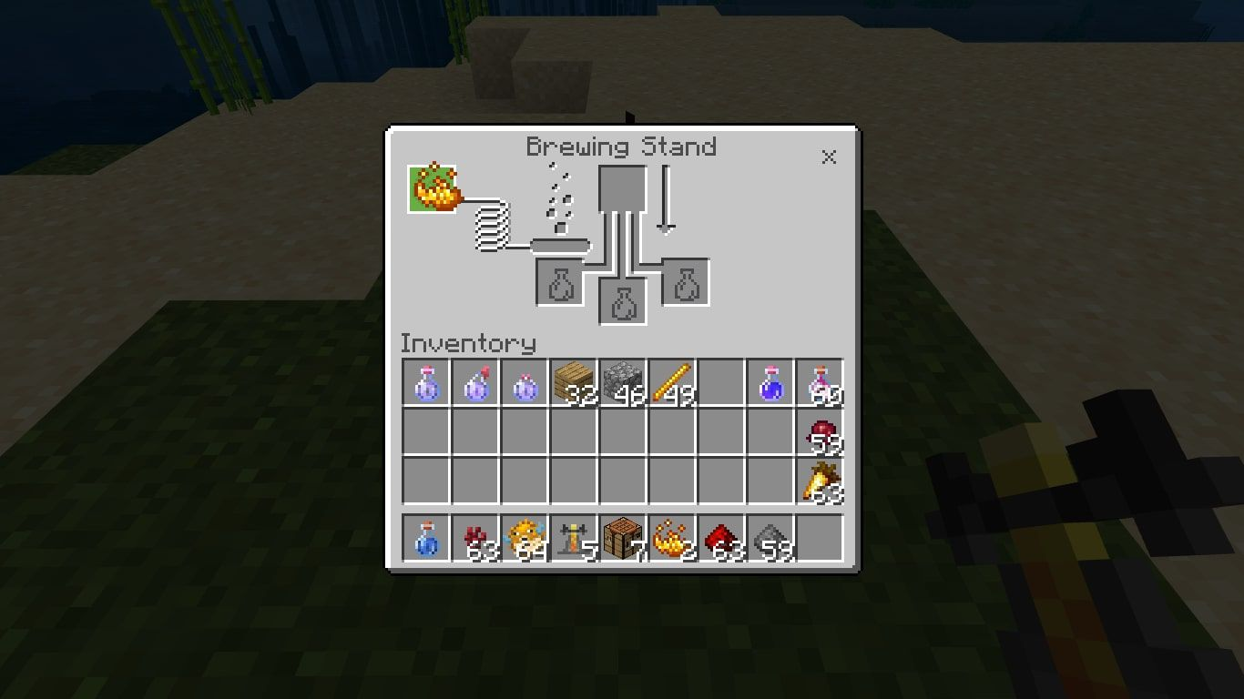 Add the Blaze Powder to the box in the upper-left corner of the brewing menu to activate the Brewing Stand.