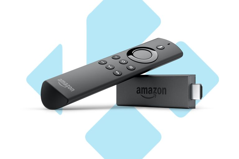 Amazon Fire TV stick and remote over Kodi logo
