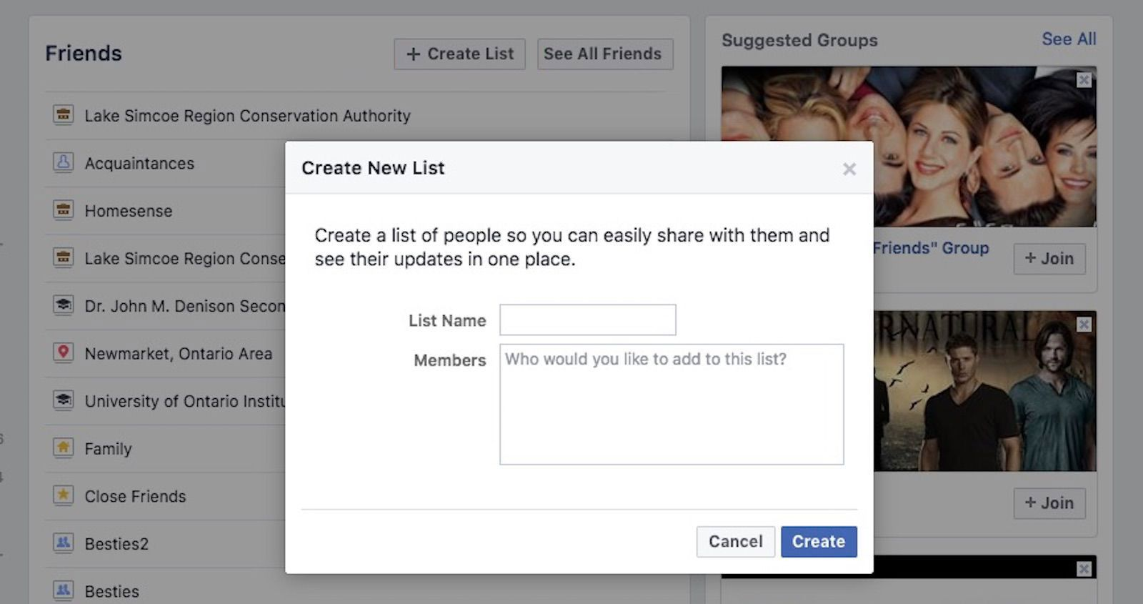 The Create New List window in Facebook
