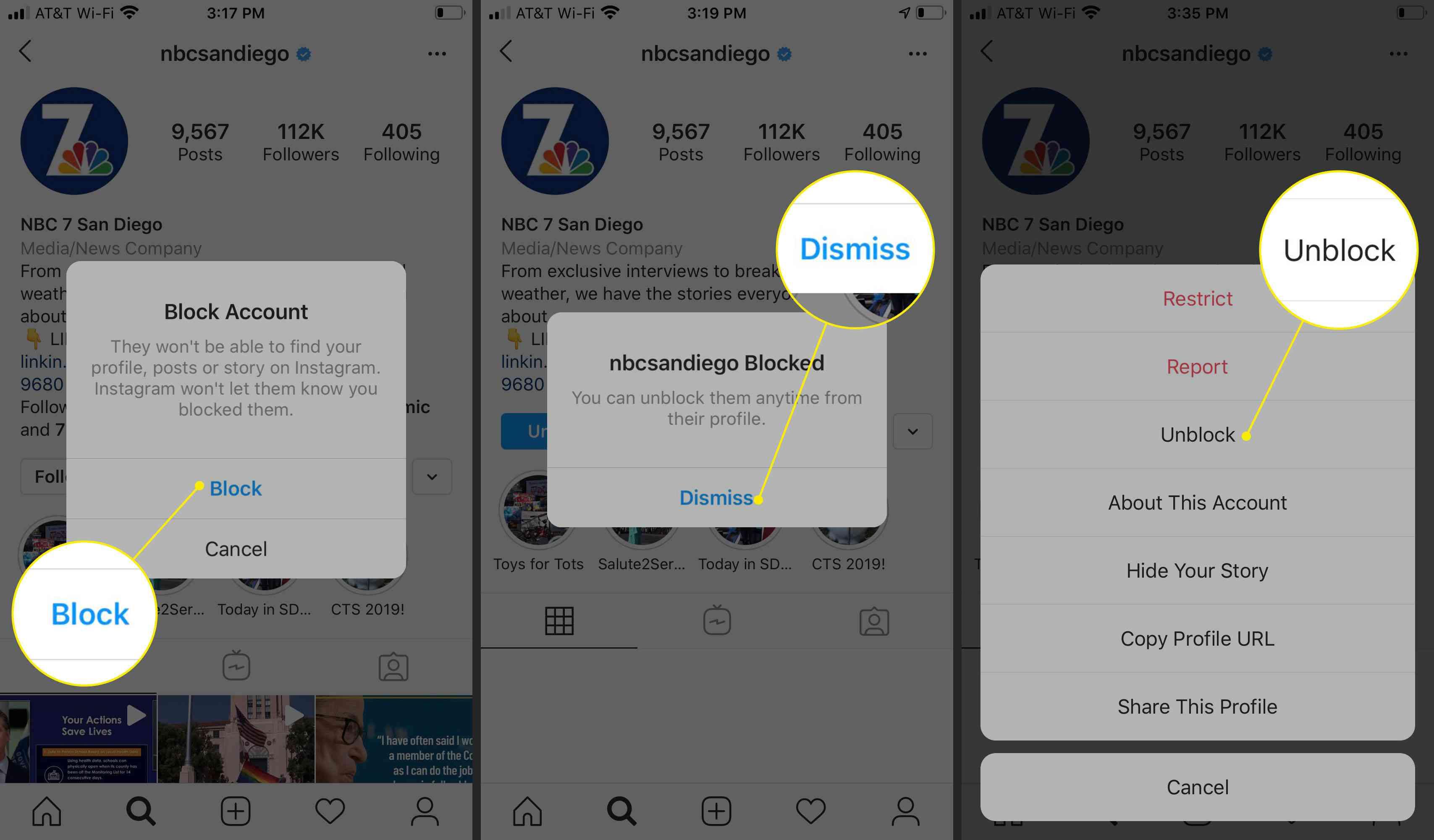 Blocking an account on Instagram