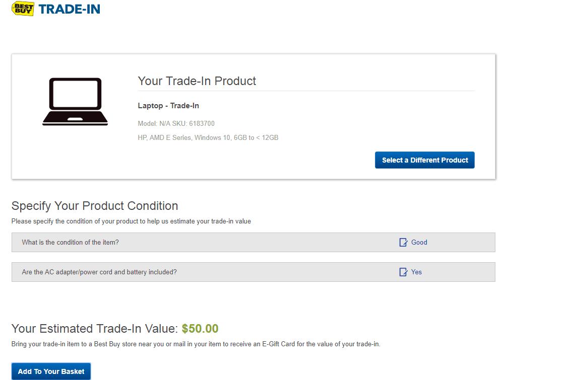 Screenshot Of The Best Trade In Website