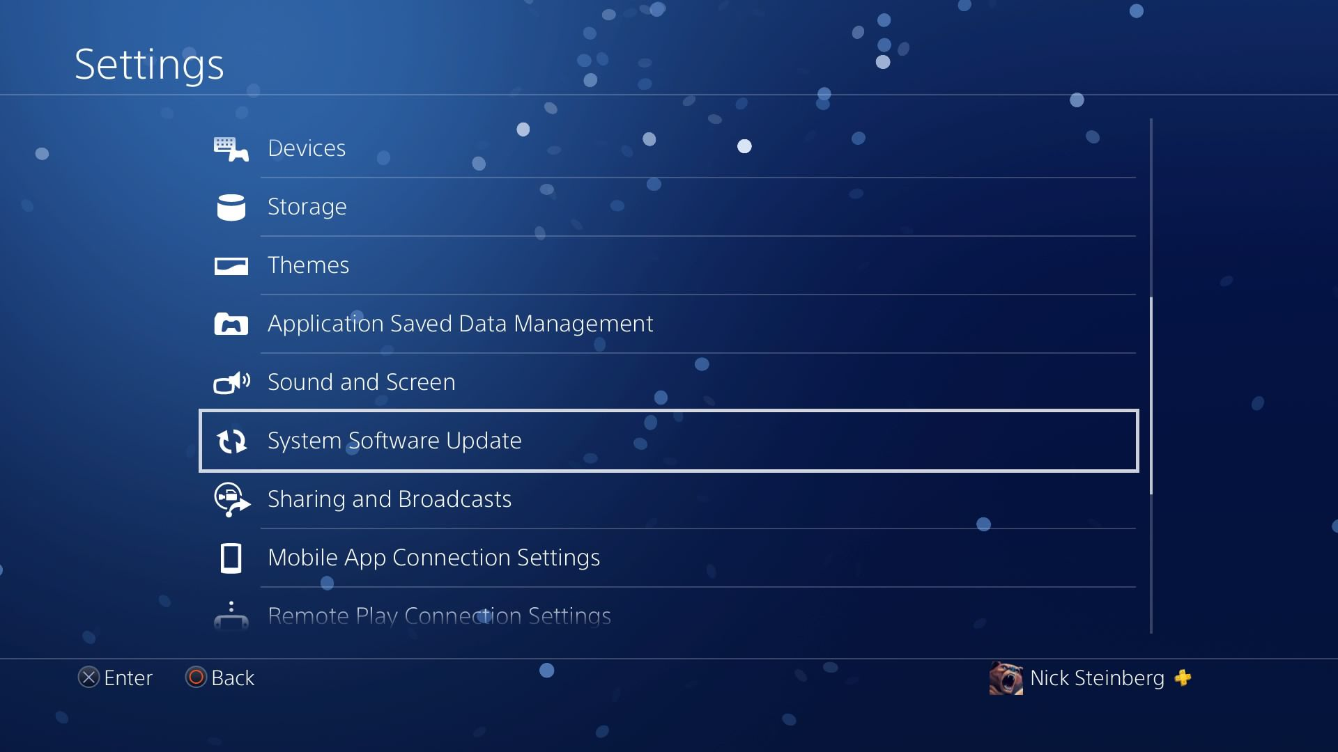 Selecting System Software Update under Settings on PS4.